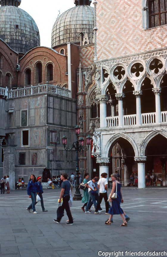 Venice:  Piazza San Marco, evening.  Doge's Palace, San Marco.  Photo '83.