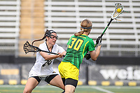 Towson, MD - March 25, 2017: Towson Tigers Michelle Gildea (24) defends Oregon Ducks Mariah Gatti (30) during game between Towson and Oregon at  Minnegan Field at Johnny Unitas Stadium  in Towson, MD. March 25, 2017.  (Photo by Elliott Brown/Media Images International)