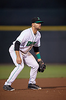 Dayton Dragons third baseman John Sansone (4) during a game against the Cedar Rapids Kernels on May 10, 2017 at Fifth Third Field in Dayton, Ohio.  Cedar Rapids defeated Dayton 6-5 in ten innings.  (Mike Janes/Four Seam Images)