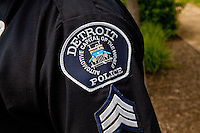 A Detroit police badge is seen in Detroit (Mi) Saturday June 8, 2013.