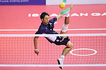 Yuki Sato (JPN),<br /> AUGUST 24, 2018 - Sepak takroae : <br /> Men's Doubles Semi-final  match Thailand - Japan <br /> at Jakabaring Sport Center Ranau Hall <br /> during the 2018 Jakarta Palembang Asian Games <br /> in Palembang, Indonesia. <br /> (Photo by Yohei Osada/AFLO SPORT)