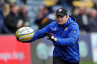 Bath Rugby first team coach Darren Edwards passes the ball during the pre-match warm-up. Aviva Premiership match, between Worcester Warriors and Bath Rugby on February 13, 2016 at Sixways Stadium in Worcester, England. Photo by: Patrick Khachfe / Onside Images
