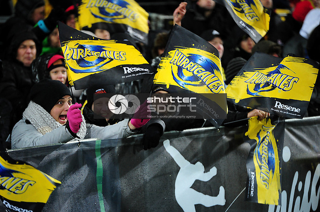 Hurricanes fans during the Super Rugby Final between The Hurricanes and The Lions at Westpac Stadium, Wellington, New Zealand on Saturday 6th August 2016. Photo: Ricky Wilson/Shuttersport.co.nz