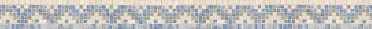 "3 1/4"" Whitaker border, a hand-cut mosaic shown in polished Botticino, Kay's Green, and Blue Macauba by New Ravenna."
