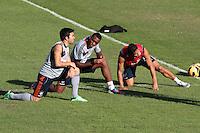 RIO DE JANEIRO; RJ; 18 DE JULHO 2013-  A equipe do Fluminense treinou nesta quinta-feira nas Laranjeiras se preparando para o clássico contra o Vasco do próximo domingo na volta do time tricolor ao Maracanã. Deco, Digão e Michael alongam durante o treino. FOTO: NÉSTOR J. BEREMBLUM - BRAZIL PHOTO PRESS.