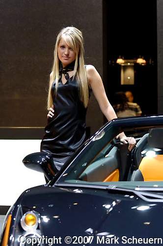 Model at the Lamborghini display at the North American International Auto Show, 2007