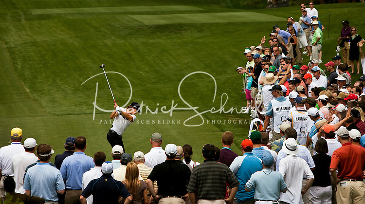 Golfer Camilo Villegas tees off on 9 during the Quail Hollow Championship 2009 Pro-Am in Charlotte, North Carolina. The Pro-Am is held as part of the professional championship, formerly called the Wachovia Championship, which is a top event on the PGA Tour, attracting such popular golf icons as Tiger Woods, Vijay Singh and Bubba Watson. Photo from the first round in the Quail Hollow Championship golf tournament at the Quail Hollow Club in Charlotte, N.C., Thursday, April 30, 2009...golfer Camilo Villegas  tees off on 9