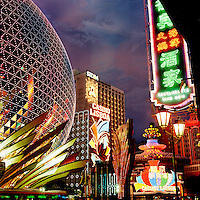 The original Casino Lisboa and part of the newly built Grand Lisboa to the left.