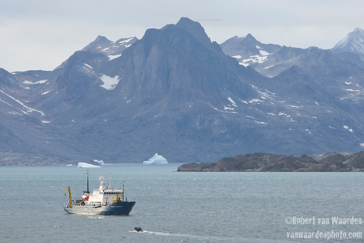 A zodiac carrying students returns to the ship, the Akademik Shokakskiy,  in Eastern Greenland. The students are part of the Cape Farewell Youth Expedition that was organized by the British Council of Canada.