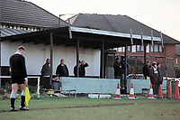 The main stand at East Ham United FC Football Ground, Manorway Sports Ground, East Ham Manorway, Beckton, London, pictured on 14th December 1996