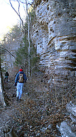 NWA Democrat-Gazette/FLIP PUTTHOFF<br />Buffalo River Trail hugs bluffs high above the river Jan. 19 2018 on a hike from Ponca to Steel Creek. An out-and-back hike from Ponca covers four miles.