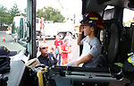 Brian Penafiel, 7, checks out a Carson City Fire engine during the Touch-a-Truck event at the Carson City Library in Carson City, Nev., on Saturday, Aug. 5, 2017. <br /> Photo by Cathleen Allison/Nevada Photo Source