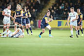 29th September 2017, Sixways Stadium, Worcester, England; Aviva Premiership Rugby, Worcester Warriors versus Saracens; Jamie Shillcock of Worcester Warriors thinks he has a clear break and space to run into but the referee calls a scrum