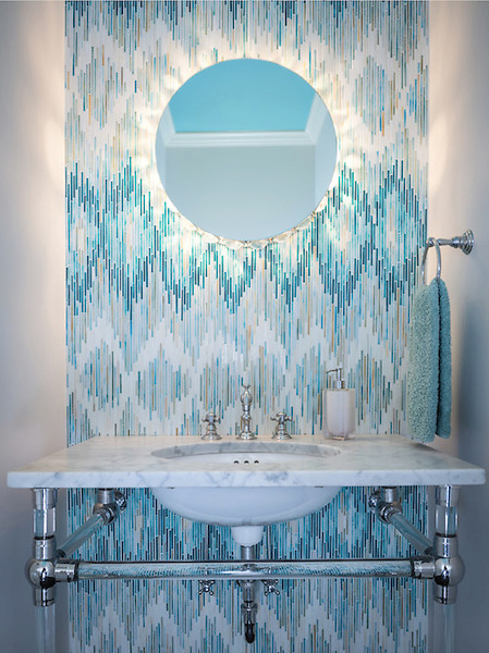 This custom mosaic backsplash features Loom, a handmade mosaic shown in Quartz, Aquamarine, Tanzanite and Turquoise, from the Ikat Collection by Sara Baldwin for New Ravenna.<br />