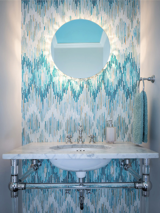 This custom mosaic backsplash features Loom, a handmade mosaic shown in Quartz, Aquamarine, Tanzanite and Turquoise, from the Ikat Collection by New Ravenna.