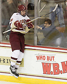 Jump - Chris Kreider (BC - 19) celebrates his second period goal which made it 4-2 BC. - The Boston College Eagles defeated the visiting Boston University Terriers 5-2 on Saturday, December 4, 2010, at Conte Forum in Chestnut Hill, Massachusetts.