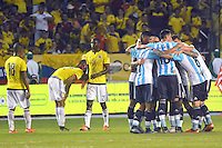 BARRANQUILLA - COLOMBIA - 17-11-2015: Jugadores de Argentina celebran la victoria sobre Colombia en partido válido por la clasificación a la Copa Mundo FIFA 2018 Rusia jugado en el estadio Metropolitano Roberto Melendez en Barranquilla. / Players of Argentina celebrate the victory over Colombia in match valid for the 2018 FIFA World Cup Russia Qualifiers played at Metropolitan stadium Roberto Melendez in Barranquilla. Photo: VizzorImage / Alfonso Cervantes / Str