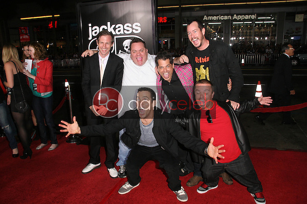 Spike Jonze, Preston Lacy, Jeff Tremaine, Ehren McGhehey, Steve O and Jason &quot;Wee Man&quot; Acuna<br /> at the premiere of &quot;Jackass 3D,&quot; Chinese Theater, Hollywood, CA. 10-13-10<br /> Dave Edwards/DailyCeleb.com 818-249-4998