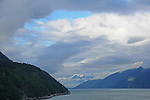 view of Gastineau Channel in Juneau, Alaska, with a cloudy sky, looking down from Mt Robert