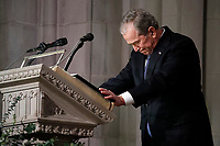 Former President George W. Bush speaks at the State Funeral for his father, former President George H.W. Bush, at the National Cathedral, Wednesday, Dec. 5, 2018, in Washington.<br /> Credit: Alex Brandon / Pool via CNP / MediaPunch