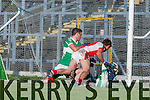 Did it go over the line Brendan O'Keeffe Rathmore shot is brilliantly stopped by Legion Brian Kelly and Eoin O'Carroll during the O'Donoghue Cup final in Fitzgerald Stadium on Sunday