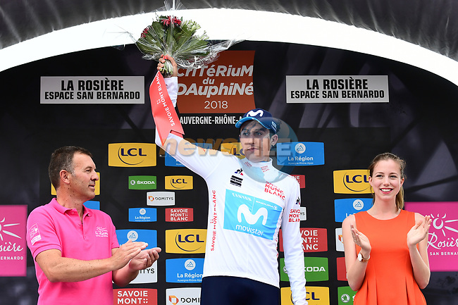 Marc Soler (ESP) Movistar Team takes over the young riders White Jersey at the end of Stage 6 of the 2018 Criterium du Dauphine 2018 running 110km from Frontenex to La Rosiere, France. 9th June 2018.<br /> Picture: ASO/Alex Broadway | Cyclefile<br /> <br /> <br /> All photos usage must carry mandatory copyright credit (© Cyclefile | ASO/Alex Broadway)