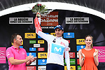 Marc Soler (ESP) Movistar Team takes over the young riders White Jersey at the end of Stage 6 of the 2018 Criterium du Dauphine 2018 running 110km from Frontenex to La Rosiere, France. 9th June 2018.<br /> Picture: ASO/Alex Broadway | Cyclefile<br /> <br /> <br /> All photos usage must carry mandatory copyright credit (&copy; Cyclefile | ASO/Alex Broadway)