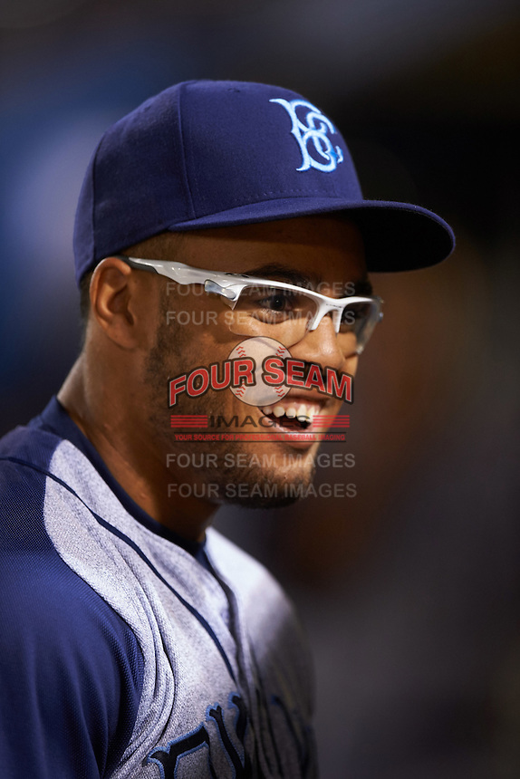 Brooklyn Cyclones outfielder Desmond Lindsay (5) during the first game of a doubleheader against the Connecticut Tigers on September 2, 2015 at Senator Thomas J. Dodd Memorial Stadium in Norwich, Connecticut.  Brooklyn defeated Connecticut 7-1.  (Mike Janes/Four Seam Images)