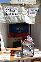 Rebel fundraising stand, Donetsk, Ukraine. September, 2014.