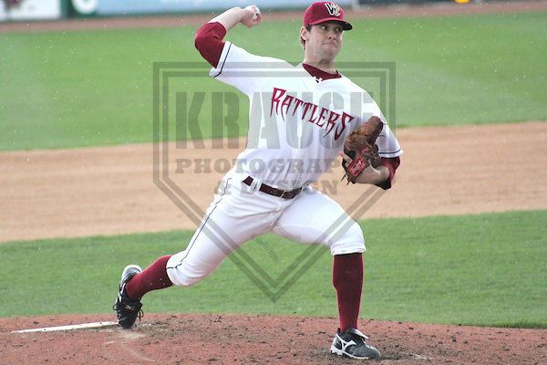 APPLETON - MAY 2011: Austin Ross (12) of the Wisconsin Timber Rattlers, Class-A affiliate of the Milwaukee Brewers, during a game on May 23, 2011 at Fox Cities Stadium in Appleton, Wisconsin. (Photo by Brad Krause) ........
