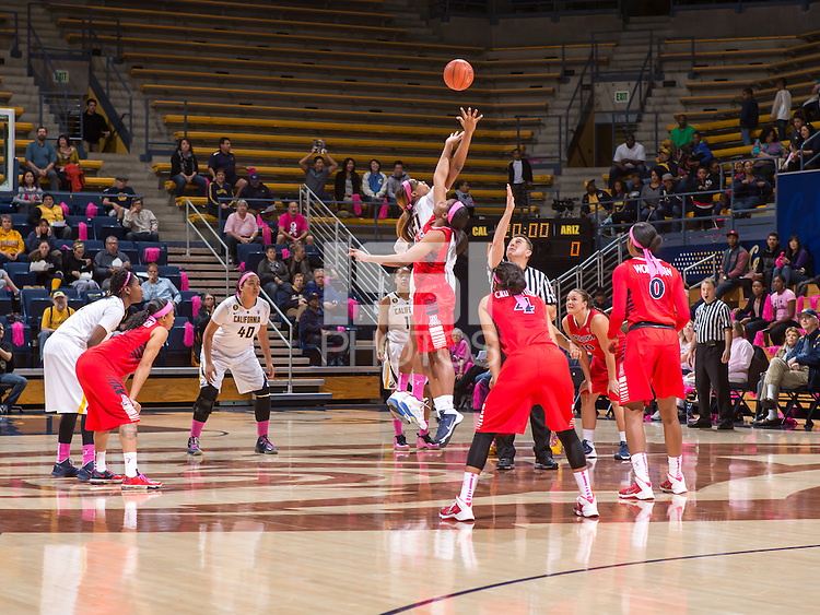 California and Arizona tips off to start women's basketball game at Haas Pavilion in Berkeley, California on February 14th, 2014. California defeated Arizona 65 - 49