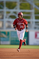 Altoona Curve center fielder Jason Martin (23) rounds the bases during a game against the Richmond Flying Squirrels on May 15, 2018 at Peoples Natural Gas Field in Altoona, Pennsylvania.  Altoona defeated Richmond 5-1.  (Mike Janes/Four Seam Images)