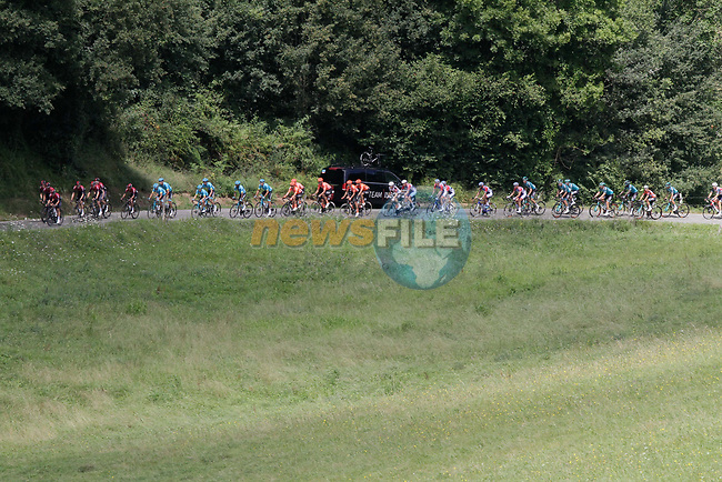 The peloton climb the 1st Col during Stage 3 of the Route d'Occitanie 2020, running 163.5km from Saint-Gaudens to Col de Beyrède, France. 3rd August 2020. <br /> Picture: Colin Flockton | Cyclefile<br /> <br /> All photos usage must carry mandatory copyright credit (© Cyclefile | Colin Flockton)