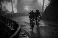 Julien Bernard (FRA/Trek-Segafredo) & Tiago Machado (POR/Katusha-Alpecin) moving together through the torrential rains<br /> <br /> 76th Paris-Nice 2018<br /> Stage 8: Nice > Nice (110km)