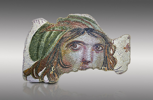 """Roman mosaics - The Gypsy Girls. The House of Menad. Ancient Zeugama, 2nd - 3rd century AD . Zeugma Mosaic Museum, Gaziantep, Turkey.<br /> <br /> It was discovered in the building called the House of Menad during the excavations conducted by the Gaziantep Museum. As the excavations continued, it was understood that almost all the mosaics inside the building had been stolen by historical _artifact; traffickers. The figure, called the Gypsy. Girl, was fortunately under the soil extracted from the illegal diggings and unseen by the traffickers; then it was brought to our Museum. She was liken to a Gypsy Girl as a joke during the excavations when she was unearthed with her uncombed hair, salient cheekbones, round face and earrings, and then has kept to be called with that name. <br /> <br /> There is no illuminating data regarding her identity but some scholrs claim that she is one of the -mnads present in  Dionysus festivals because of the tendrils near her 1.71eado, and others suggest that this is a portrait of Alexander the Great The most interesting feature of the mosaic is that it follows the beholder in every direction. A special technique was used in the mosaic in order to make her eyes more realistic. On the other hand, the fact that both joy and sorrow are reflected in her face indicates the stage reached in the art of portx4it. <br /> <br /> The piece was made, via the technique -called """"three look"""" in the art of painting during the Hellenistic period. This technique was used by great painters as well. Da vincrs'Mona Lisa is an example for such paintings. With those characteristics, the piece has become the symbol of Zeugma and Gaziantep"""