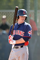 Cleveland Indians outfielder Clint Frazier (17) on deck during an Instructional League game against the Kansas City Royals on October 9, 2013 at Surprise Stadium Training Complex in Surprise, Arizona.  (Mike Janes/Four Seam Images)