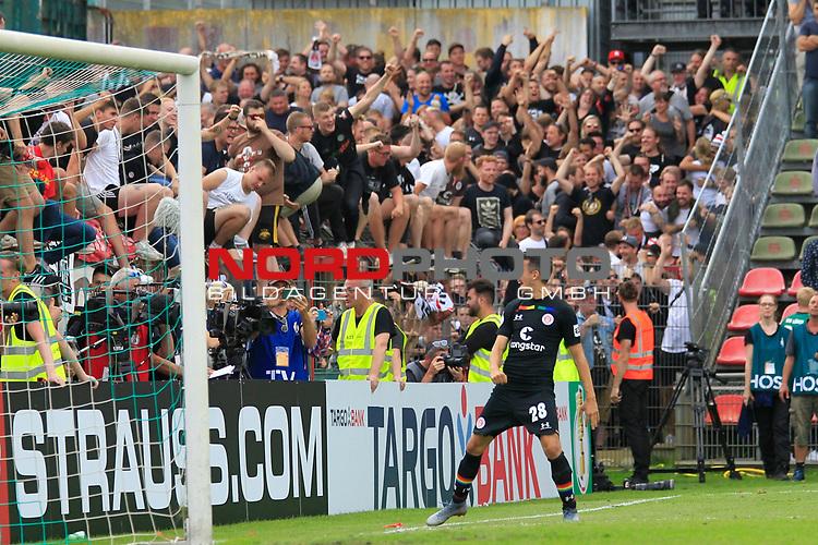11.08.2019, Stadion Lohmühle, Luebeck, GER, DFB-Pokal, 1. Runde VFB Lübeck vs 1.FC St. Pauli<br /> <br /> DFB REGULATIONS PROHIBIT ANY USE OF PHOTOGRAPHS AS IMAGE SEQUENCES AND/OR QUASI-VIDEO.<br /> <br /> im Bild / picture shows<br /> Waldemar Sobota (FC St. Pauli) jubelt nach dem Pokalsieg gegen den VfB Luebeck mit 6:7.<br /> <br /> Foto © nordphoto / Freund