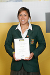 Girls Rugby Union winner Aroha Savge. ASB College Sport Young Sportperson of the Year Awards 2007 held at Eden Park on November 15th, 2007.