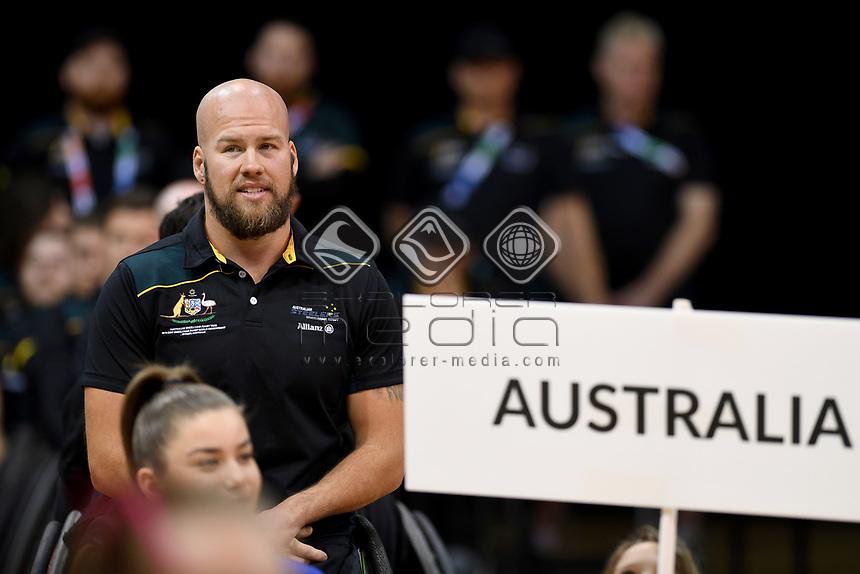 Opening Ceremony - Ryley Batt (Aus)<br /> Australian Wheelchair Rugby Team<br /> 2018 IWRF WheelChair Rugby <br /> World Championship / Day 1<br /> Sydney  NSW Australia<br /> Sunday 5th August 2018<br /> &copy; Sport the library / Jeff Crow / APC