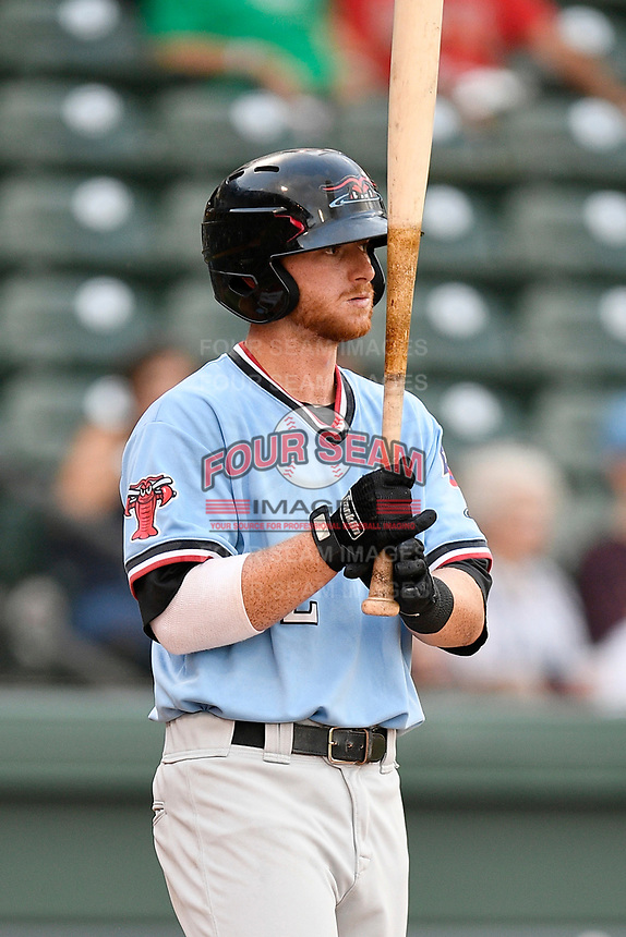 Third baseman Ryan Dorow (2) of the Greenville Drive at bat during a game against the Hickory Crawdads on Monday, August 20, 2018, at Fluor Field at the West End in Greenville, South Carolina. Hickory won, 11-2. (Tom Priddy/Four Seam Images)