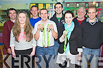 "Kerry handballers Michaela O'Donoghue, Ballymac U15 singles 60x30 All Ireland champion, Dominic Lynch, Glenbeigh, Over 35s singles and doubles world champion and Aine Casey, Ballymac, ladies ""C"" world champion pictured with Christy Moriarty, John Joe Quirke, Colm O'Lúing, Owen Riordan and Jack O'Shea, at a presentation night in Ashes Bar, Glenbeigh on Saturday night. ..."