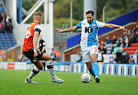 Blackburn Rovers' Greg Cunningham under pressure from Luton Town's James Bree<br /> <br /> Photographer Kevin Barnes/CameraSport<br /> <br /> The EFL Sky Bet Championship - Blackburn Rovers v Luton Town - Saturday 28th September 2019 - Ewood Park - Blackburn<br /> <br /> World Copyright © 2019 CameraSport. All rights reserved. 43 Linden Ave. Countesthorpe. Leicester. England. LE8 5PG - Tel: +44 (0) 116 277 4147 - admin@camerasport.com - www.camerasport.com