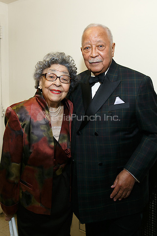 NEW YORK, NY - APRIL 3: Hon. David N. Dinkins, Mrs. Joyce Dinkins pictured as David N. Dinkins, 106th Mayor of the City of New York, receives the Dr. Phyllis Harrison-Ross Public Service Award for a lifetime of public service at the New York Society of Ethical Culture in New York City on April 3, 2014. Credit: Margot Jordan/MediaPunch