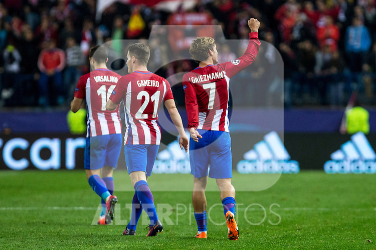 Atletico de Madrid's Antoine Griezmann Kevin Gameiro  during the match of UEFA Champions League between Atletico de Madrid and FC Rostov, at Vicente Calderon Stadium,  Madrid, Spain. November 01, 2016. (ALTERPHOTOS/Rodrigo Jimenez)
