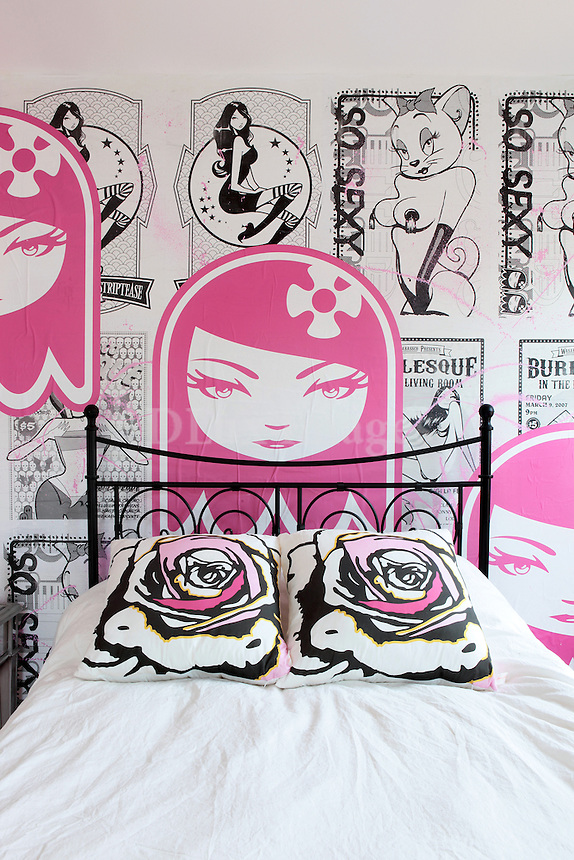 girly bed with comics wallpaper