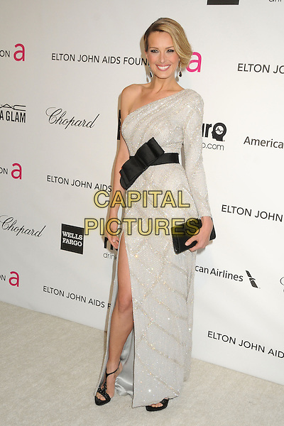Petra Nemcova.21st Annual Elton John Academy Awards Viewing Party held at West Hollywood Park, West Hollywood, California, USA..February 24th, 2013.oscars full length dress long sleeve one shoulder black belt  silver grey gray sparkly waistband bow clutch bag slit split .CAP/ADM/BP.©Byron Purvis/AdMedia/Capital Pictures.