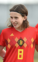 20180314 - TUBIZE , BELGIUM : Belgian Marie Detruyer pictured during the friendly female soccer match between Women under 15 teams of  Belgium and Gemany , in Tubize , Belgium . Wednesday 14 th March 2018 . PHOTO SPORTPIX.BE / DIRK VUYLSTEKE