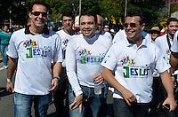 SÃO PAULO, 29 DE JUNHO DE 2013 - MARCHA PARA JESUS: Deputado Marcos Feliciano durante Marcha Para Jesus 2013 realizada na manha deste sabado em São Paulo. A concentração aconteceu próximo a Estação da Luz e os fiéis foram em caminhada até o Campo de Marte, ao som de trio elétricos com musica gospel. FOTO: LEVI BIANCO - BRAZIL PHOTO PRESS