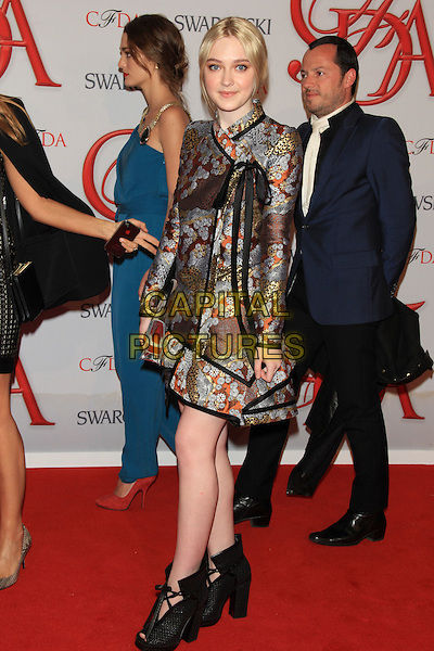 Dakota Fanning.The 2012 CFDA Fashion Awards held at Alice Tully Hall - Lincoln Center, New York, NY, USA..June 4th, 2012 .full length black sheer dress  blue grey gray embroidered ankle boots shoes .CAP/LNC/TOM.©LNC/Capital Pictures.