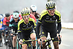 The peleton including Simon Yates (GBR) Mitchelton-Scott in action during a wet miserable Stage 7 of the 2018 Paris-Nice running 175km from Nice to Valdeblore la Colmiane, France. 10th March 2018.<br /> Picture: ASO/Alex Broadway | Cyclefile<br /> <br /> <br /> All photos usage must carry mandatory copyright credit (&copy; Cyclefile | ASO/Alex Broadway)